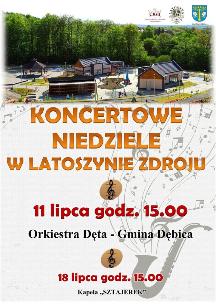 W niedzielę 11 lipca ogodzinie 15.00 wLatoszynie Zdroju odbędzie się kolejna muzyczna uczta. Tym razem wystąpi orkiestra Dęta Gminy Dębica.
